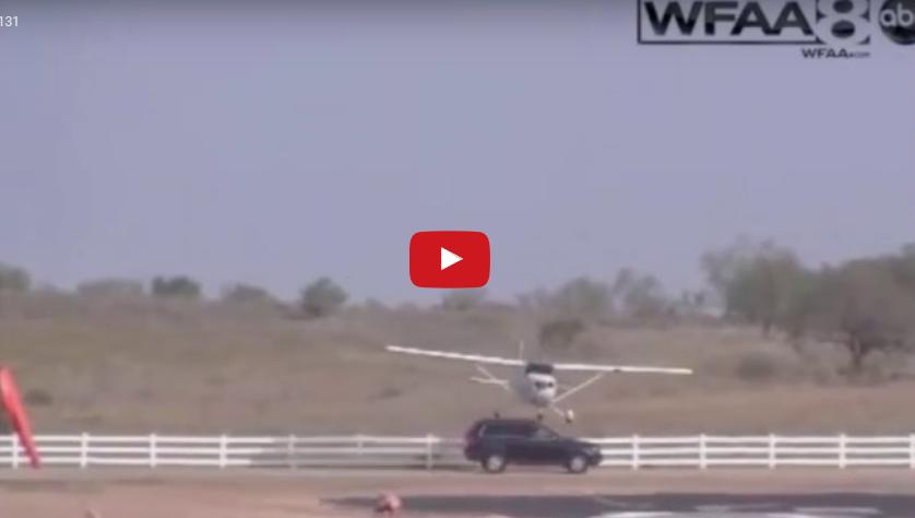Plane hits SUV when landing