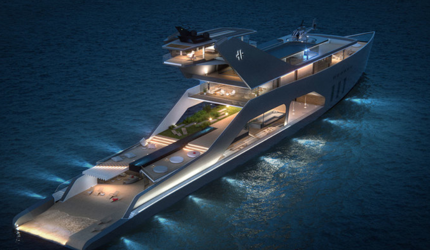 Superyacht With Its Own Private Beach