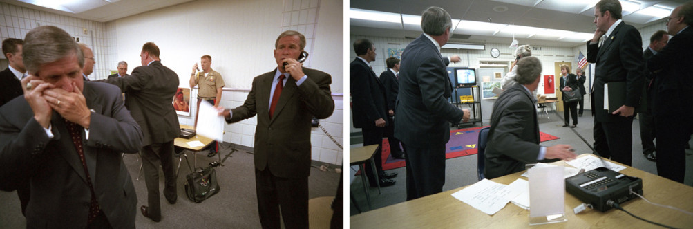 At left, George W. Bush calls New York Governor George Pataki, FBI Director Robert Mueller and Vice President Dick Cheney shortly after he learns of the September 11 attacks from Emma E. Booker Elementary School. White House Chief of Staff Andy Card talks on a cell phone. At right, Bush watches TV news coverage of New York. | George W. Bush Presidential Library and Museum