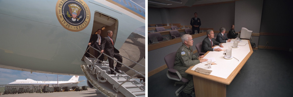 At left, President George W. Bush arrives Tuesday, Sept. 11, 2001, at Offutt Air Force Base in Nebraska. At right, Bush, Admiral Richard Mies, left, and White House Chief of Staff Andy Card conduct a video teleconference at the base. | Courtesy of the George W. Bush Presidential Library and Museum
