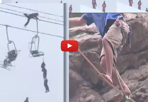 Professional slackliner attempts rescue for friend hanging unconscious from chairlift